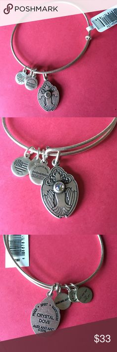 🕊NWT Alex and Ani crystal dove bangle🕊 Brand new with tags...rafaliean silver with Swarovski crystal adornment. Symbolizes peace, spirit and gentleness. Comes with meaning card. From a smoke and pet free home. ❌no trades❌ Alex & Ani Jewelry Bracelets