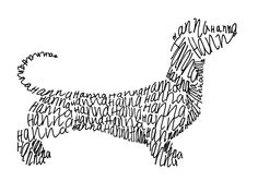 Hanna's Dachshund, 2013, commission for tattoo, ink on paper, 6 x 9 cm.