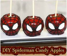 DIY Spiderman Candy Apples