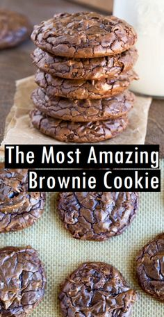 The Most Amazing Brownie Cookie - Food: Cakes & Sweets - # Brownie Plätzc . - The Most Amazing Brownie Cookie – Food: Cakes & Sweets – Brownie Cookies # - Easy Cookie Recipes, Sweet Recipes, Cookie Brownie Recipes, Easy Recipes, Cookie Flavors, Delicious Cookie Recipes, Brownie Deserts, Cokies Recipes, Monster Cookie Recipes