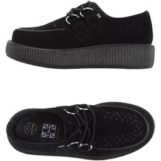 T.u.k Lace-up Shoes (2,020 MXN) ❤ liked on Polyvore featuring shoes, black, black wedge shoes, black leather shoes, creeper shoes, laced shoes and leather lace up shoes