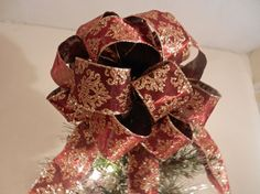 Large Christmas Tree topper bow  a dark by creativelycarole