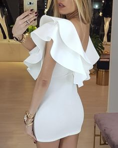 Sexy Dresses, Cute Dresses, Dress Outfits, Short Dresses, Fashion Dresses, Bachelorette Outfits, Trend Fashion, Looks Chic, White Outfits