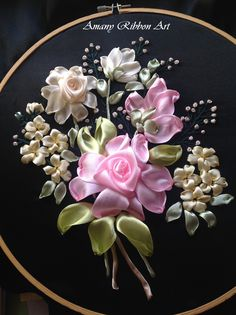 Wonderful Ribbon Embroidery Flowers by Hand Ideas. Enchanting Ribbon Embroidery Flowers by Hand Ideas. Ribbon Embroidery Tutorial, Hand Embroidery Stitches, Silk Ribbon Embroidery, Embroidery Hoop Art, Hand Embroidery Designs, Embroidery Patterns, Ribbon Garland, Ribbon Art, Diy Ribbon