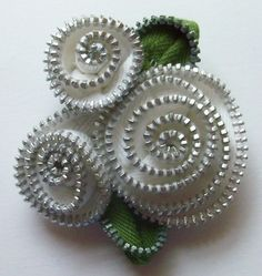 White Abstract Floral Brooch / Zipper Pin  by ZipPinning 2948 by ZipPinning on Etsy