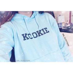 Kookie Bts Blue Hoodie (Ladies Sizing Not Unisex) ($35) ❤ liked on Polyvore featuring tops, hoodies, pictures - blue, silver, sweatshirts, women's clothing, blue hoodies, blue hoodie, hoodies pullover and pullover hoodies