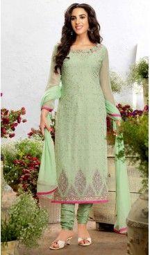 Georgette Fabric Evening Wear Straight Cut Dresses in Honeydew Color | FH523579305 #pakistani , #evening , #dress , #heenastyle , #party , #wear , #anarkali , #salwar , #kameez , #dupatta , #churidar , #suit , #fashion , #online , #shopping , #casual , #designer , @heenastyle , #store, #shop , #boutique , #straight , #georgette , #fabric