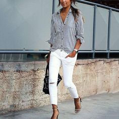 Take a look at 14 stylish spring outfits with white jeans in the photos below and get ideas for your own amazing outfits! White jeans, chambray shirt and brown accessories Amazing Outfits Image source Denim Shirt Outfits, Outfit Jeans, Jean Outfits, Denim Pants, Denim Shirt Outfit Summer, Casual Shirt, Spring Outfits, Trendy Outfits, Cute Outfits