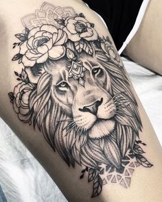 Thank you so much Louelle for sitting so well for your first tattoo! Done today … Thank you so much Louelle for sitting so well for your first tattoo! Done today at Sydney 🌿 Tattoo Femeninos, Tattoo Dotwork, Tattoo Style, Leo Tattoos, Piercing Tattoo, Body Art Tattoos, Piercings, Tattoo Thigh, Mandala Lion Tattoo