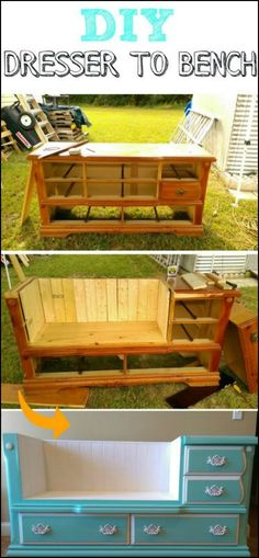 Upcycle an old dresser into a bench!