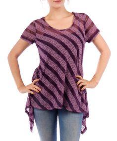 Look at this #zulilyfind! Purple Sheer Lace Stripe Sidetail Top #zulilyfinds