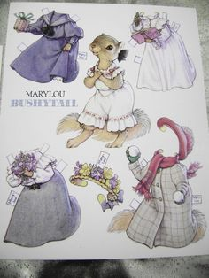 VTG PAPER DOLL GREETING/POST CARD 1990s BUSHYTAIL K. LAWRENCE NEW CUTE!!! | eBay