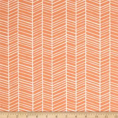 Joel Dewberry Flora Herringbone Carro from @fabricdotcom  Designed by Joel Dewberry for Free Spirit Fabrics, this fabric features an abstract herringbone design and is perfect for quilting, apparel and home decor accents. Colors include orange and white.