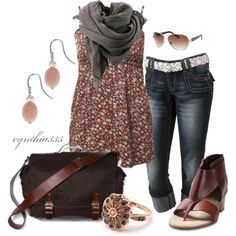 flowered smock top, grey scarf, dark jean capri, maroon sandals, flower ring, shoulder bag, Summer Outfit, created by cynthia335 on Polyvore