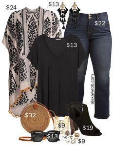 Plus Size on a Budget – Kimono - Alexa Webb Plus Size on a Budget – Kimono Outfit with black t-shirt, bootcut jeans, rattan straw bag, boho accessories and statement earrings - Alexa Webb Curvy Fashion, Look Fashion, Spring Fashion, Fashion Outfits, Womens Fashion, Fashion Tips, Petite Fashion, Fashion Bloggers, Fashion Ideas