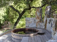 Invigorating garden design with a small plunge pool to relax - Garten - Garden Deck Spa Design, Deck Design, Garden Design, Design Ideas, Bath Design, Design Trends, Jacuzzi Outdoor, Outdoor Baths, Whirlpool Deck
