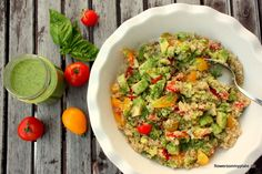 quinoa, cherry tomatoes and avocado in a creamy basil olive oil dressing (recipe)