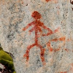 MIelikki, Goddess of the Forest (Finnish petroglyph, Woman with a bow, Astuvansalmi, Ristiina)