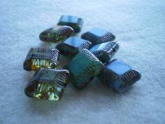 14 mm square Picasso Carved Beads  Aqua by mycottagegardenlare, $3.25
