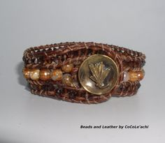 Topaz and Brown Agate Beads and Leather Cuff by BeadsLeatherbyCoCo, $69.00