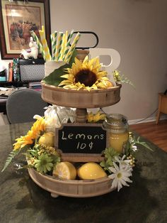 Country Decor For Living Room. Have A Look At These Style and design Tips To Help Make Your Interior Place A Fantasy Lemon Kitchen Decor, Kitchen Tray, Kitchen Ideas, Summer Centerpieces, Table Centerpieces, Tray Styling, Café Bar, Tiered Stand, Tray Decor