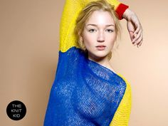 knit sweater bulky mohair blue red yellow theknitkid by THEKNITKID, €300.00