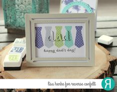 Card by Lisa Henke. Reverse Confetti stamps: Tie-rific. Confetti Cuts: Tie-Rific, Greetings Frame. Father's Day card.