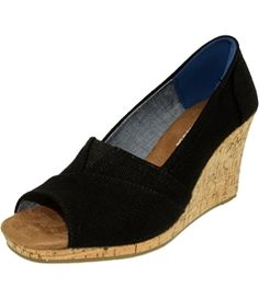 Toms Women's Classic Wedge Linen Cork Ankle-High Canvas Sandal
