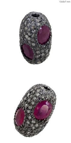 Findings and Stampings 165142: Ruby Gemstone 925 Sterling Silver Pave Diamond Spacer Bead Fine Finding 13X8 Mm BUY IT NOW ONLY: $175.0