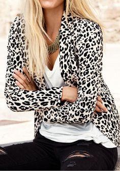 Black Leopard Print Slim Blazer