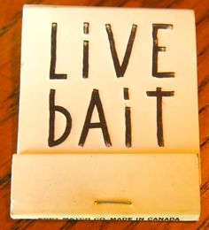Live Bait - NYC - circa 1991 #20stem #bookmatch. Special #DieEmbossing Logo.  Pic. by #JoeDanon To order your business' own branded #matchboxes and #matchbooks, go to www.GetMatches.com or call 800.605.7331 today!