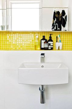 love the bright yellow tile! Small Details, Big Visual Impact: 8 Common Everyday Items That Could Use a Mini Makeover Bad Inspiration, Bathroom Inspiration, Yellow Tile, Color Yellow, Bright Yellow, Colour, Yellow Bathrooms, Bathroom Cleaning, Room Paint
