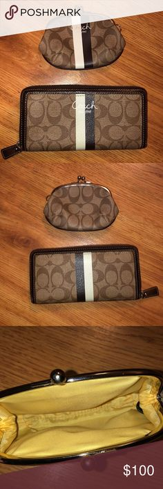 e4a3d9b1ea21 Spotted while shopping on Poshmark  Coach Heritage Stripe zipper wallet    coin purse!