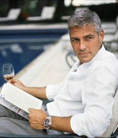 Hot Guys Reading  George Clooney with book & wine... #GeorgeClooney