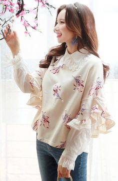 StyleOnme_Rose Patterned Frill Half Sleeve Tee #ivory #floral #rose #feminine #elegant #pretty #springtrend #koreanfashion #seoul #kstyle #tee #kfashion