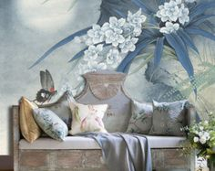 "Orchid Moon Night Wallpaper Vintage Oriental Butterfly Wall Decal Art Bedroom Living Room Blue White Wall Mural 129.5"" x 91.7"""