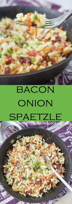 onion spaetzle in a simple but delicious combination of spaetzle (or other small pasta), bacon, caramelized onions and cheese. Perfect comfort food, it makes a delicious lunch, side or main meal. So much better than plain mac and cheese! Bacon Recipes, Pasta Recipes, Crockpot Recipes, Dinner Recipes, Cooking Recipes, Healthy Recipes, Pepperoni Recipes, Cooking Bacon, Cooking Food