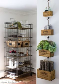 Nesting+herb+crates+and+baker's+rack+decorated+for+fall!