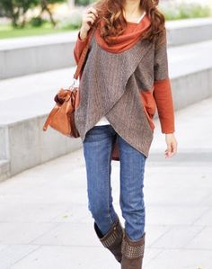 Really cute and interesting. Neat sweater, and the boots with the skinny jeans are great.
