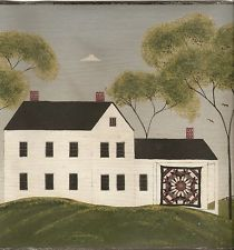 Warren Kimble quilt folk art barn Amish wallpaper border