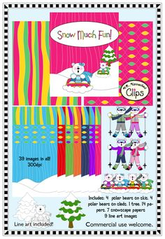 Snow Much Fun! $ - Whimsical polar bear clip art, coordinating papers and line art too. 39 images in all. http://www.teacherspayteachers.com/Product/Polar-Bear-Clip-Art-Snow-Much-Fun-1012747