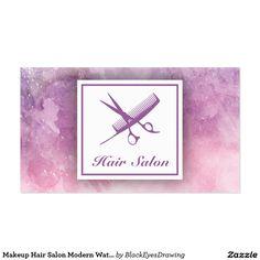 Makeup Hair Salon Modern Watercolor Violet Scissor
