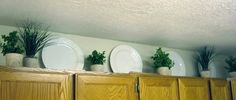 Ideas for Decorating Above Cabinets | Between 3 SistersBetween 3 Sisters    This person chose little plants instead of ivy vines.