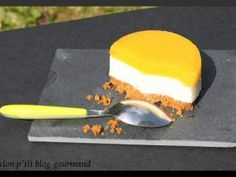 Panna cotta citron vert et gingembre sur un sablé croquant au spéculoos et miroir de mangue, Recette Ptitchef