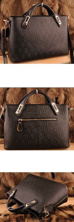 Women's #black genuine leather #satchel bags with embossing design