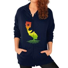 California Roots (Rasta surfer colors) Zip Hoodie (on woman)