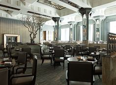Guy Oliver Tells AD About His Design for Claridge's Restaurant. Mirrored columns reflect the ample natural light.  http://www.architecturaldigest.com/blogs/daily/2014/08/fera-restaurant-claridges-hotel?mbid=social_facebook_post3_travels