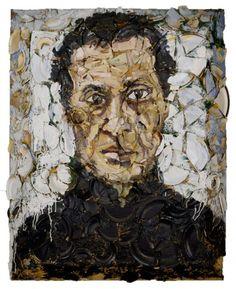 Azzedine Alaia Portrait- Oil, Plates, Bondo on wood- Julian Schnabel. Neo Expressionism, Azzedine Alaia, Nyc Art, New York Art, Land Art, Light Art, Art And Architecture, American, Collage Art