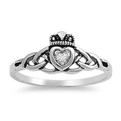 Sterling Silver Ring Size 5 CZ Claddagh Heart Irish Love Hand Promise Womens R66 | eBay  $10