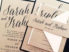 Wedding Invitation, Wedding Invite, Modern Calligraphy Wedding Invitations…